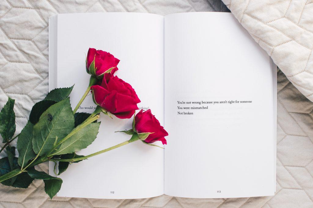 Recueil de poèmes ouvert avec trois roses rouges